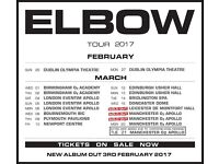 4x Elbow standing tickets, O2 Apollo Manchester, Sunday 19th March 2017