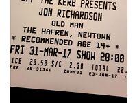 2 Tickets for Jon Richardson - Old Man Tour at Theatre Hafren Newtown Powys Fri 31st March 2017