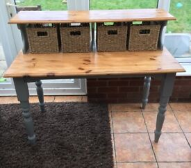 Two Tier shabby chic Table with new storage baskets