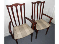 Pair of Hardwood Carver Dining Chairs, Hall Chairs