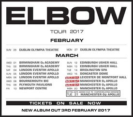 4x Elbow standing tickets, O2 Manchester Apollo, Sunday 19th March 2017
