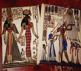 Hand painted Egyptian wall art on papyrus paper.
