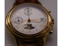 Alfex manual wind mechanical chronograph wristwatch - new old - '90s - Moonphase - GP- Vintage