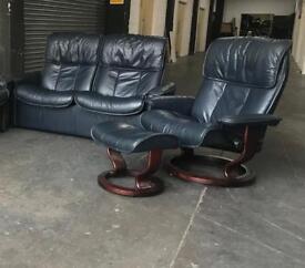 Ekornes Stressless Blue leather 3pc sofa set CAN DELIVER