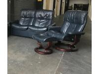 Ekornes Stressless Blue leather 3pc sofa set CAN DELIVER