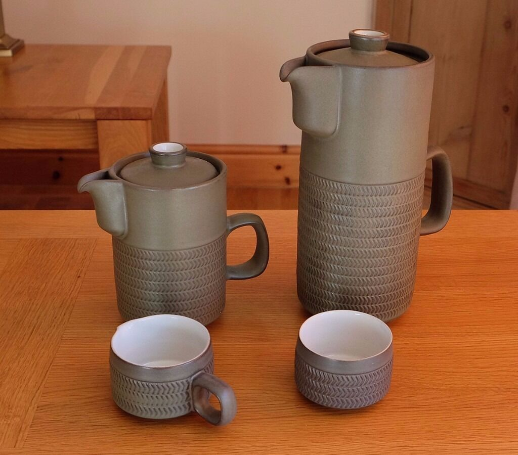 DENBY CHEVRON RETRO 1960s COFFEE SET IN OLIVE GREEN | in Wallingford ...