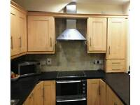 Kitchen with all appliances, integrated fridge, freezer, dishwasher, double oven, ceramic hob, fan
