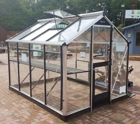 Ex display high end 'Juliana' greenhouse with louvre, vents, shelving and staging