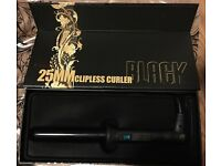 BRAND NEW BLACK 25MM SPECIALIZED TOURMALINE INFUSED CERAMIC CLIPLESS CURLER
