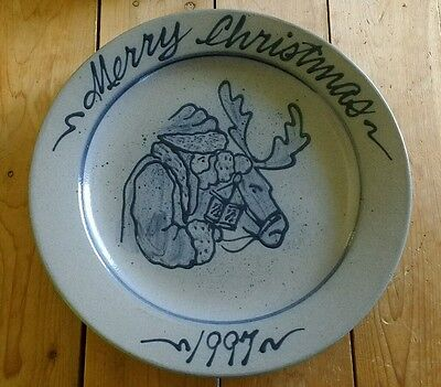 ROWE Pottery Salt Glazed 1997 Annual Christmas Holiday Plate Cambridge Wisconsin