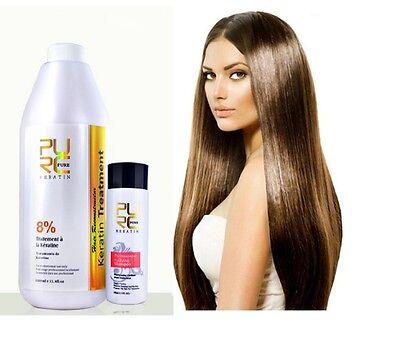8% Pure Brazilian Keratin Hair Straightening Treatment Blow Dry 1000 ml 33.8 oz.