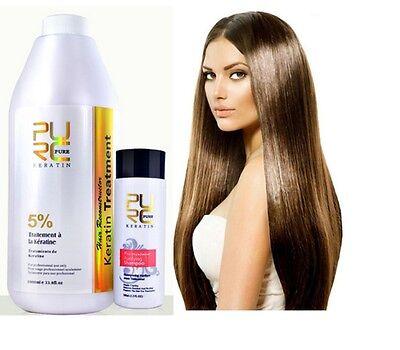 5% Pure Brazilian Keratin Hair Straightening Treatment Blow Dry 1000 ml 33.8 oz.