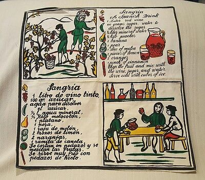 Vintage Linen Sangria Drink Recipe Towel Souvenir Vino Wine Spanish Screen Print