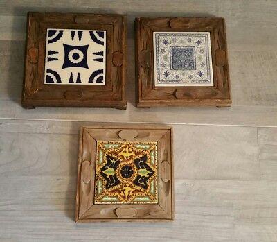 Vintage blue white yellow design tile trivet orion monterrey carved wood mexican