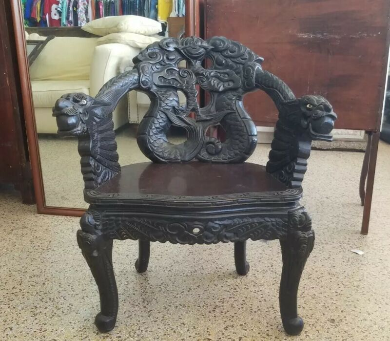 19TH C CHINESE DRAGON CHAIR