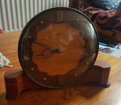 Vintage Art Deco Wooden SMITHS LYNDALE DECO 8 DAY Mantel Clock
