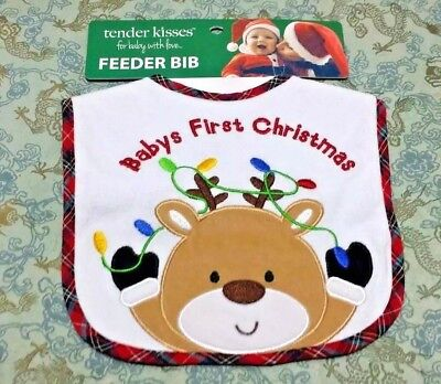 Baby's first Christmas Feeder Bib Reindeer Christmas Lights Plaid Border Gift for sale  Shipping to India