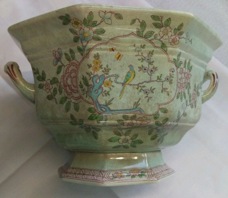 Antique Adams Calyx Ware Singapore Bird 2744 huge tureen bowl Early Mark