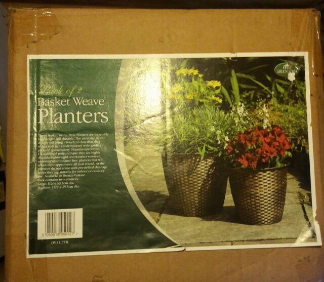 Greenhurst 5012 Basket Weave Planters - Bronze Pack of 2