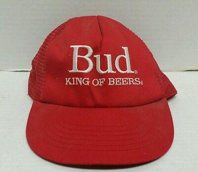 VINTAGE BEER BUDWEISER BUD KING OF BEERS 80'S SNAPBACK TRUCKER EMBROIDERED HAT