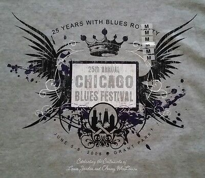 CHICAGO 25th ANNUAL 2008 BLUES FESTIVAL T-Shirt By Jones & Mitchell! New!!