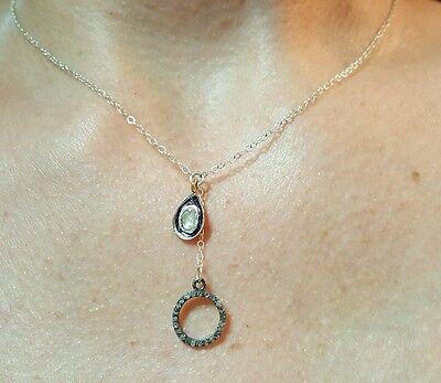 Circle Drop Diamond Pendant Necklace (Pave polki rose cut Diamond circle tear drop charm 925 silver necklace pendant  )
