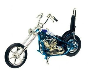 Diecast-1-18-Iron-Chopper-Blue-Motorcycle-MotorMax-Model-Die-Cast-Bike-m431L