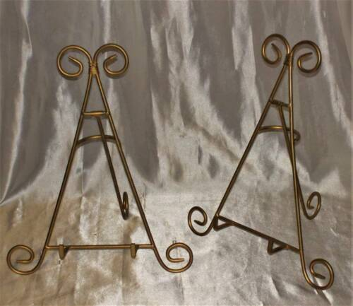 BIG! two Plate Photo Easel Display Stand PAIR portrait art book metal Tripod