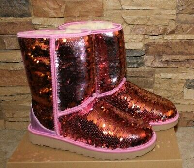 NIB UGG Women's CLASSIC SHORT SEQUIN SPARKLE SHEARLING Boots PINK 7 8 9 10](Sequin Womens Boots)