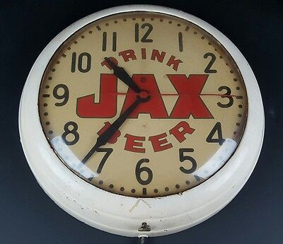 Vintage Drink Jax Beer General Electric Wall Clock Man Cave Tested & Working