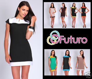 Womens-Two-Colours-Dress-Unique-Pattern-Tunic-Style-Cap-Sleeve-Size-8-16-FA12