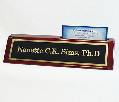 Engraved Desk Name Plate - Rosewood Block - Black Brass Plate