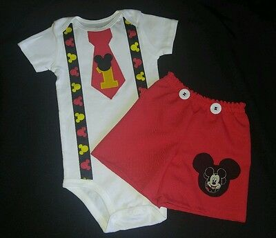 Custom Personalized Mickey Mouse Birthday Party Outfit set, 12M,18M, 24M