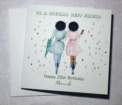 Best Friend Happy Birthday Handmade Card Sister/ Cousin/ Auntie/ 18th 21st 25th