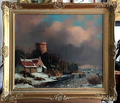 WINTER SIGNED OIL PAINTING ON CANVAS IN GILT FRAME