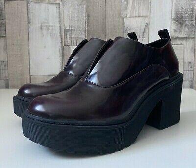 Używany, Bershka Mulberry Faux Leather Chunky Heel Shoes Grunge Style Size 4 na sprzedaż  Wysyłka do Poland