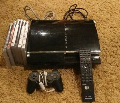 PlayStation PS3 CECHA01 60gb Backwards Compat + 1 Controller +6 games SEE VIDEO