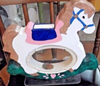 FOLK ART WOOD ROCKING HORSE COIN BANK SAVE MONEY EASILY SEE THROUGH COIN HOLDER