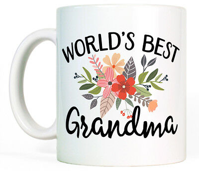 Worlds Best Grandma Coffee Mug Cup Birthday Gift for Grandmother Cute (Best Gifts For Grandmother Grandmas)