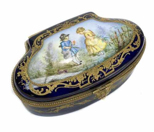 Sevres France Porcelain Hand Painted Box c1920