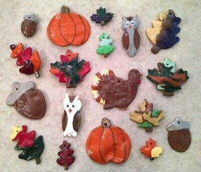 Salt dough Primitive Thanksgiving Fall tree ornaments 18 owl turkey leaves acorn
