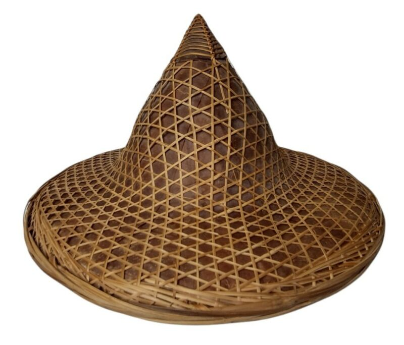 Vintage COOLIE HAT Asian Sun Rice Patty Bamboo Straw Conical Chinese Japan