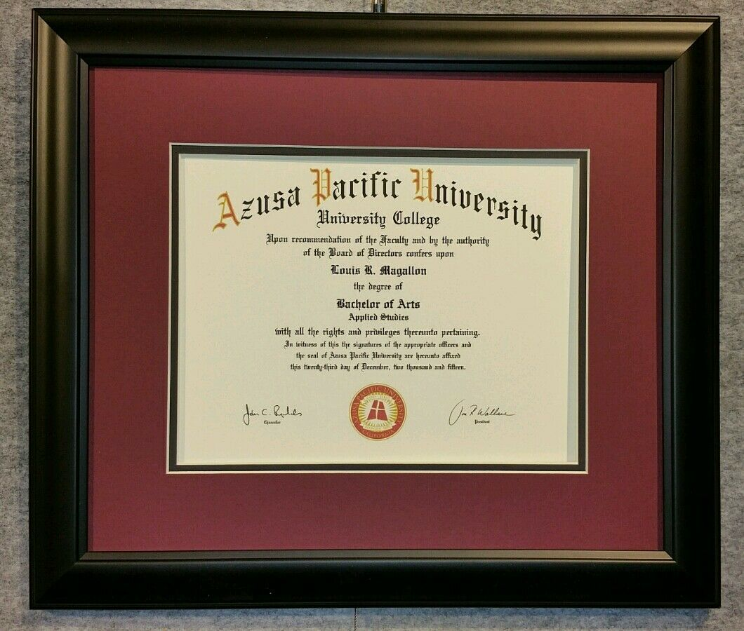 Diploma Certificate Matte Black Wood Honors Frame Double