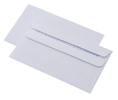 1000 DL Plain White Self Seal Envelopes 110x220mm