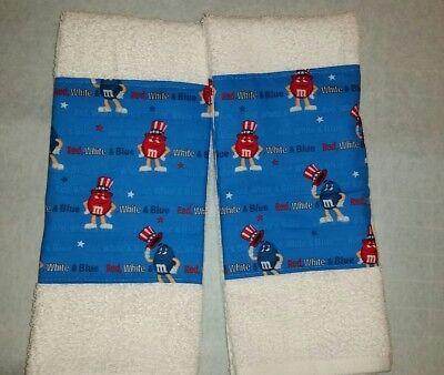 CUSTOM - M&M M & M GANG CANDY PATRIOTIC 4TH JULY WHITE BATH HAND TOWEL SET 2