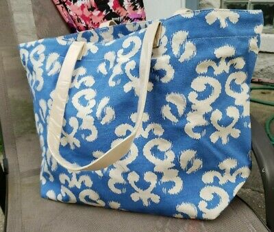 Large Blue & White Canvas Damask  Tote Shoulder Beach Bags, Picnic, Travel