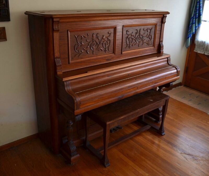 Antique 1880-Era Newby & Evans Upright Piano in a Victorian Style