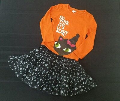 Girl's size 4 Carter's, Crazy 8 Black Cat Halloween Outfit Shirt Skirt](Crazy Halloween Outfits)