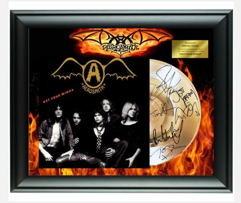 Aerosmith Autographed Get Your Wings Album LP Gold Record Award Steven Tyler