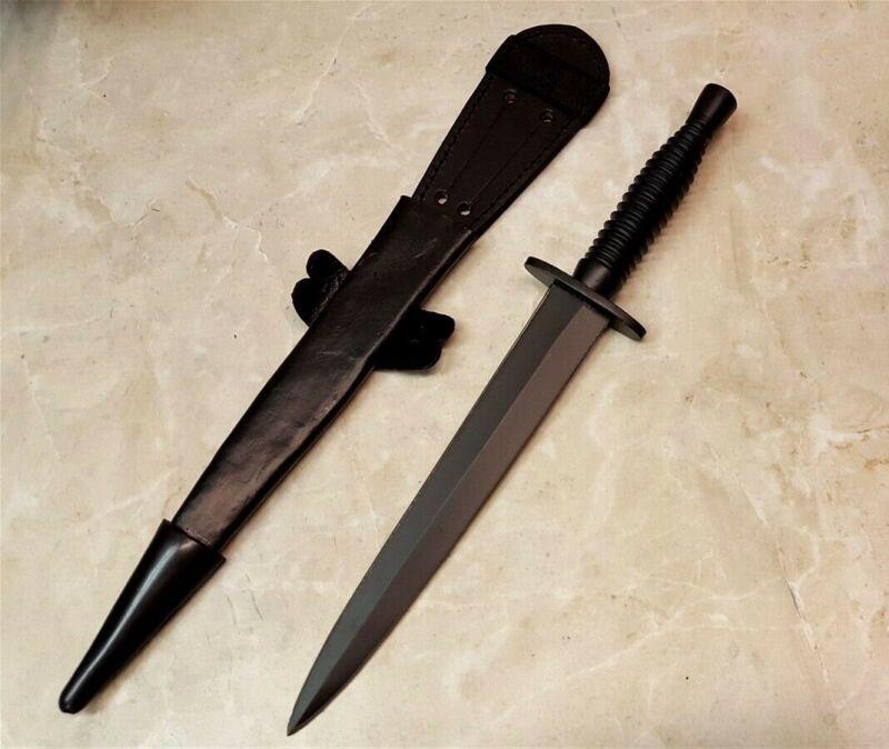Commando Knife Black Blade Double Edge Hidden Tang Dagger w/ Black Guard